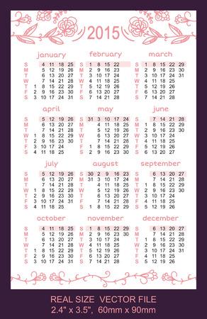 pink pocket calendar 2015  Vector