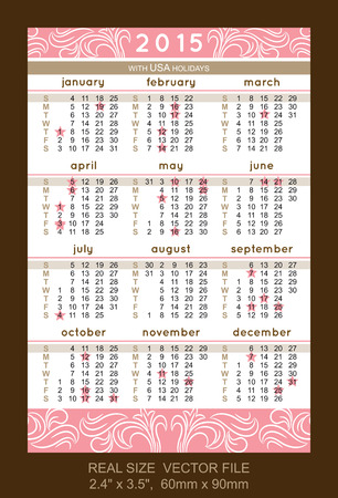 pink pocket calendar 2015, with USA holidays Vector