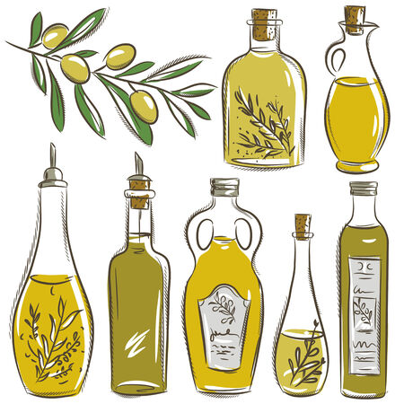 set of bottle for olive oil,