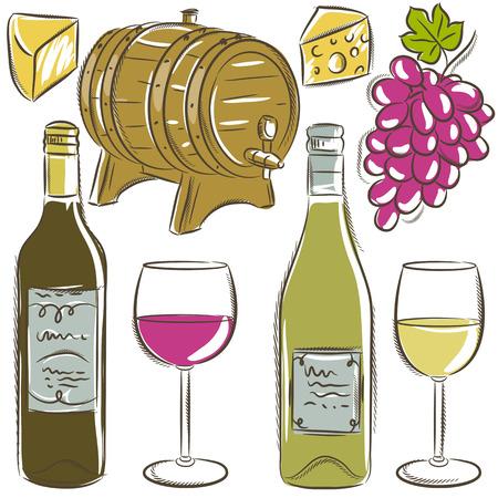 whine: set of glasses and bottles for wine,  Illustration