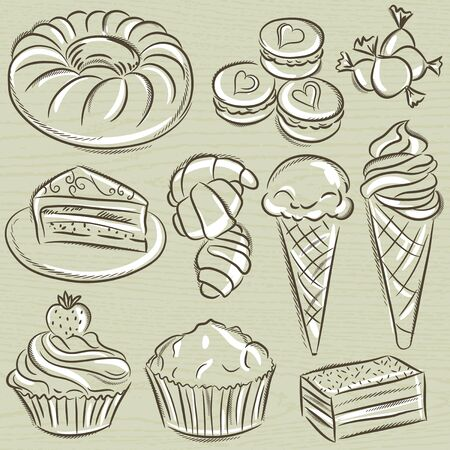 sweetmeats: set of different sweetmeats Illustration