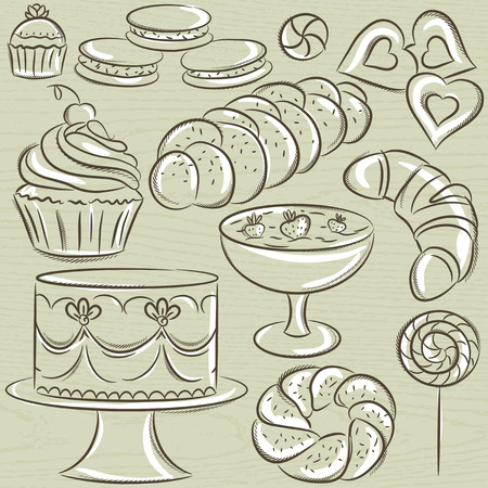 sweetmeats: set of different sweetmeats, vector