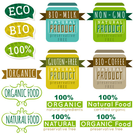 gluten: set of natural organic product labels and emblems, vector