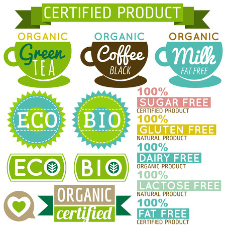 set of natural organic product labels and emblems, vector Vector