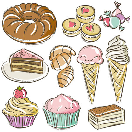 sweetmeats: conjunto de diferentes dulces, vector