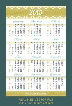 pocket calendar 2015, with USA holidays SIZE: 2.4 x 3.5,  60mm x 90mm Vector