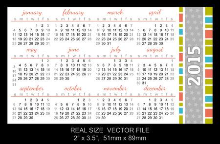 pocket calendar 2015, start on Sunday SIZE: 2 x 3.5,  51mm x 89mm Vector