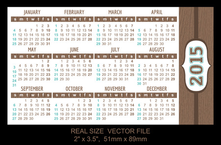 Pocket Calendar 2015, vector, start on Sunday Vector
