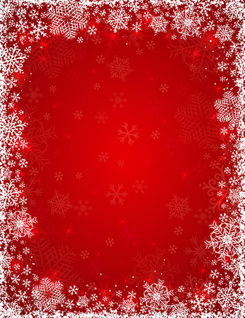vanity: red background with  frame of snowflakes,  vector Illustration