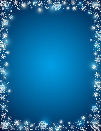 in vain: blue background with frame of snowflakes