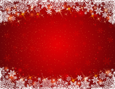 red background with  frame of snowflakes Illustration