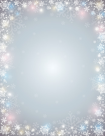 lustre: grey background with  frame of snowflakes,  vector