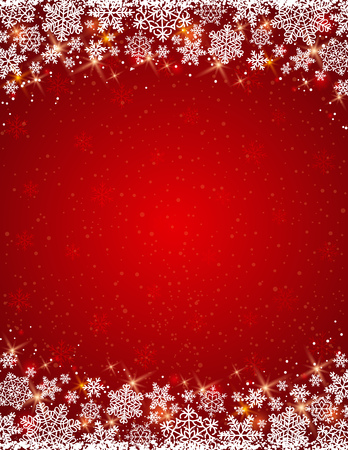 red background with  frame of snowflakes,  vector Vector