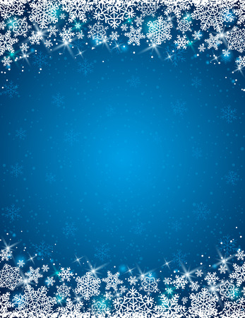 snowflake border: blue background with  frame of snowflakes,  vector Illustration