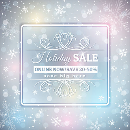 lustre: grey  christmas background and  label with sale offer, vector illustration Illustration