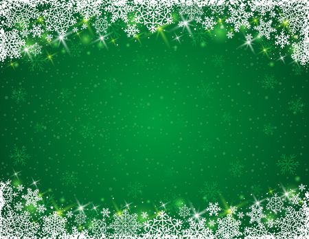 lustre: green background with  frame of snowflakes,  vector