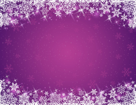 violet background with  frame of snowflakes,  vector Illustration