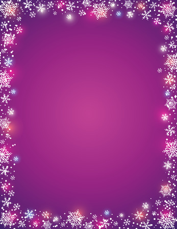 in vain: violet background with  frame of snowflakes,  vector Illustration