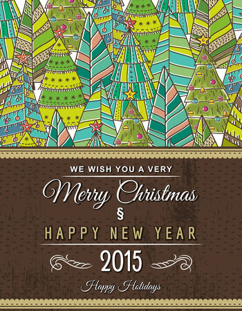 christmas tree branch: christmas background with forest of christmas trees, vector illustration