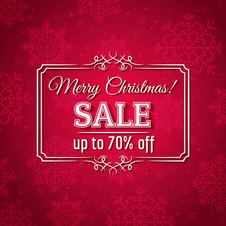 snowflake border: red christmas background and sale offer, vector