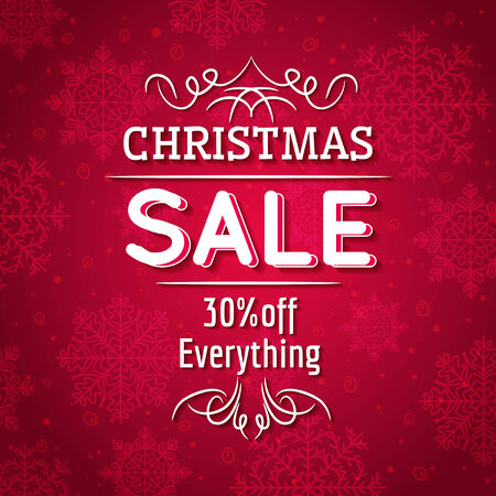 clearance sale: red christmas background and sale offer, vector