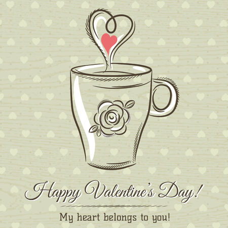 hot drink: valentine card with cup of hot drink and wishes text,  vector illustration