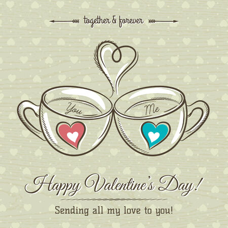 hot drink: valentine card with two cup of hot drink and wishes text,  vector  illustration