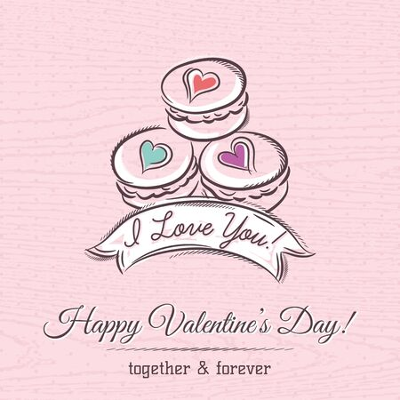 macarrones: tarjeta de San Valentín con macarrones y desea texto, vector Vectores