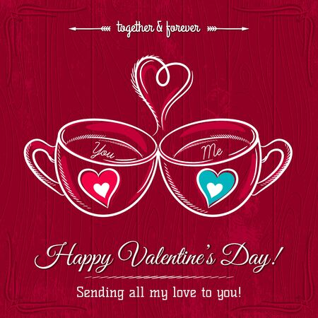 hot drink: red valentine card with two cup of hot drink and wishes text,  vector