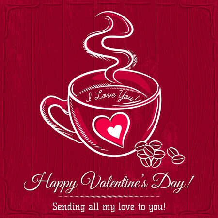 hot drink: red valentine card with cup of hot drink and wishes text,  vector
