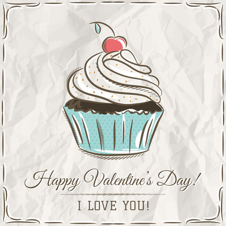cupcake illustration: valentine card with  cupcake and wishes text