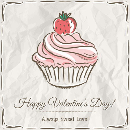 cupcake illustration: valentine card with  strawberry cupcake ,  vector illustration