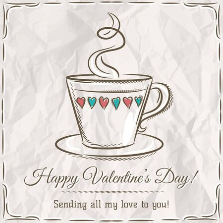 hot drink: valentine card with cup of hot drink and wishes text,  vector