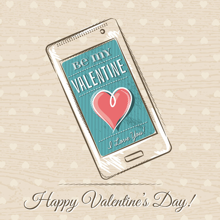 smart card: valentine card with smart phone and red heart,  vector illustration