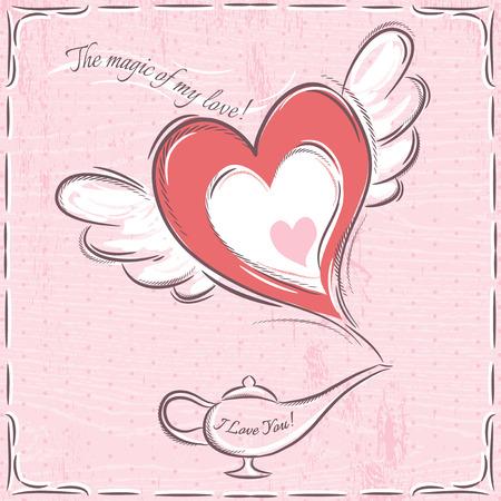 lampada magica: carta di San Valentino rosa con il cuore e lampada magica, vettore