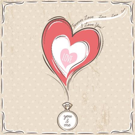 bague de fiancaille: valentine avec le coeur et bague de fian�ailles, vecteur Illustration
