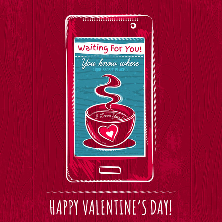 smart card: red valentine card with smart phone,  vector illustration