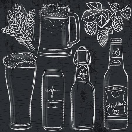 botellas de cerveza: conjunto de la botella de cerveza en la pizarra, vector Vectores