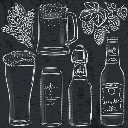 set of beer bottle on blackboard, vector