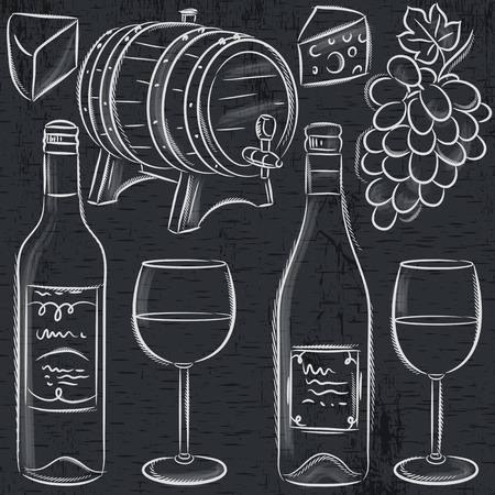wine and cheese: set of glases and bottles for wine on blackboard, vector