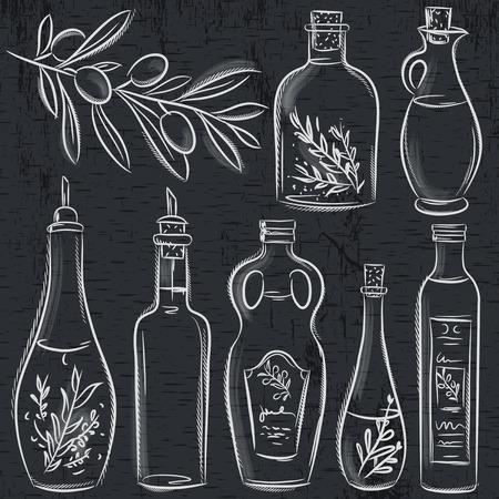 aceite de oliva virgen extra: conjunto de botella de aceite de oliva en la pizarra, vector