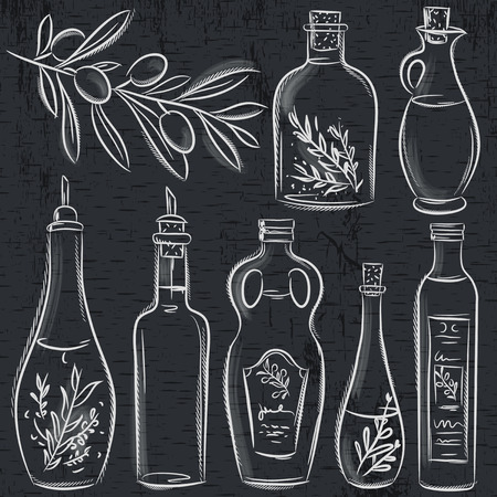 set of bottle for olive oil on blackboard, vector
