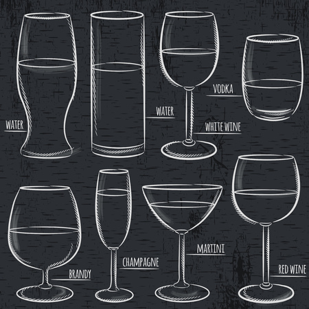 set of different  glasses on  blackboard, vector