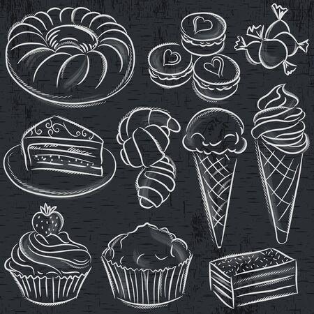sweetmeats: set of different sweetmeats on blackboard, vector Illustration