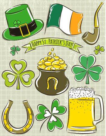 irish banners: Design elements for  St Patricks Day, shamrock, horseshoe, beer, pipe, hat,  Irish flag,  pot Illustration