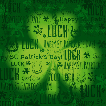 17th: grunge green background for Patricks day with shamrock, vector illustration