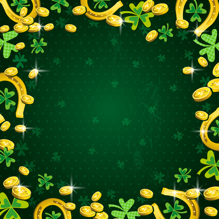 golden horseshoe: green background for Patricks Day with clover and golden coins