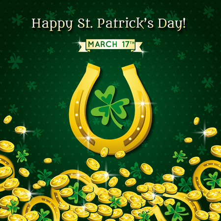 golden horseshoe: Background for St Patricks Day with horseshoe and golden coins, vector