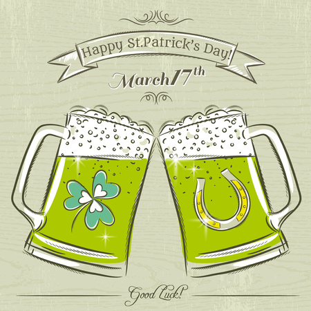 17th march: Card for St. Patricks Day with beer mug, vector