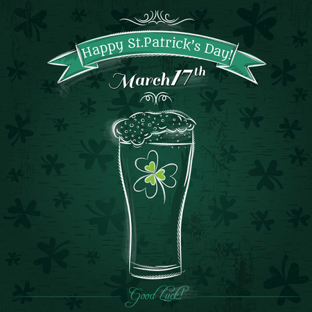 beer card: Green card for St. Patricks Day with beer mug, vector Illustration